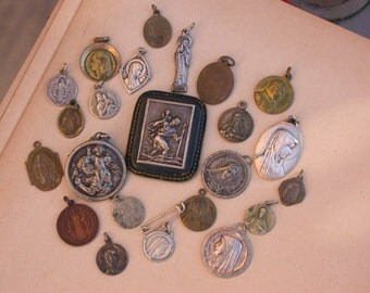 23pcs French antique large lot religious medals magnets virgin mary Lourdes sacred heart St Christoph crucifix Gothic reliquary 19th C medal