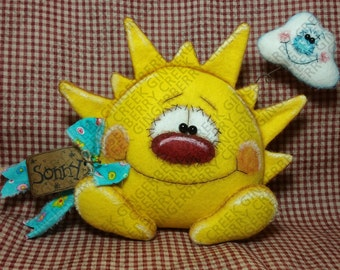 E-Pattern - Sonny and Partly Cloudy Pattern #220 - Primitive Doll E-Pattern - Sunshine - Clouds - Sunny - Summer
