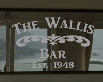 """Custom Family Bar Frosted Etched Glass Vinyl Wall Quote Sticker Decal 22""""h x 28""""w- 40""""w"""