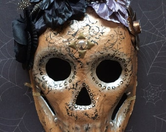 METAL Collection-Rose Gold Steampunk Skull Mask-Day of the Dead Mask-Gothic Victorian Skull Mask-Wall Art-SXS ORIGINAL