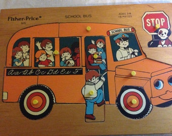 Vintage 1970's #515 Fisher Price Wooden School Bus Puzzle
