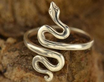 Adjustable Sterling Silver Snake Ring.