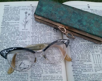 Antique cat eye glasses with case mother of pearl