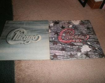 Two vintage Chicago Vinyl record albums:  Chicago II, Double Vinyl Album 1970, and Chicago III Double Vinyl Album, 1971