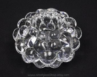 Orrefors 'Raspberry' glass votive by Anne Nilsson