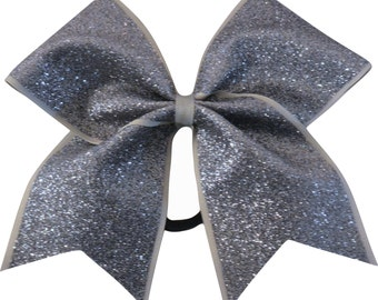 Gray Gunmetal Glitter Cheer Bow