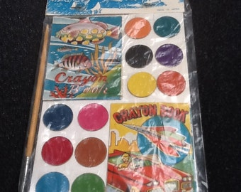 vintagewater color paint set with mini crayon books