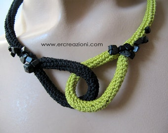 Choker crocheted black and acid yellow