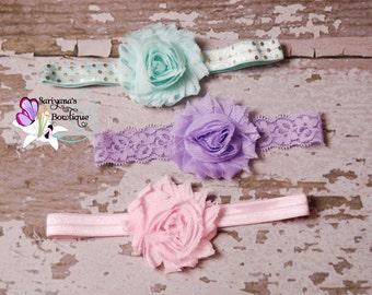 Baby Toddler Girl Woman Headband Set, Shabby Flower Headband, Mint Gold Lavender Pink - SBst-007