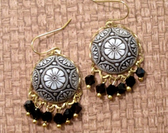 Black Czech Glass Mosaic Earrings
