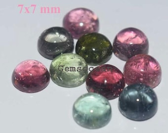 Lot Of 10 Piece AAA Quality Natural Multi Tourmaline 7x7 MM Round Cabochon Loose Gemstones