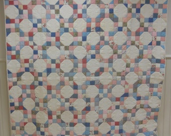 Lovely, Nine Patch, Snowball Quilt.  Signed and Dated by Quilter.  Nice Pastels.  88 x 70.