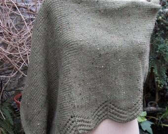 Khaki edge asymmetric poncho fancy lace