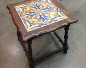 Vintage 1940s California Tile Top Side table