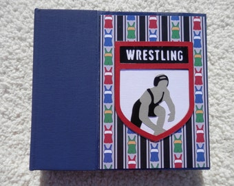 6x6 Premade Wrestling Scrapbook Album in Blue and Red