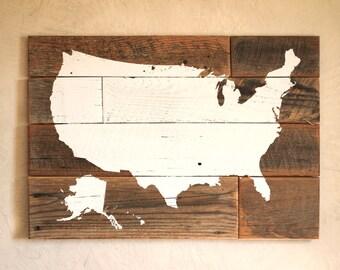 United States Map on Barn Wood - Wood US map