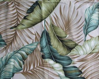 Tropical Hawaiian Fabric Ferns and Feathers from Trendtex Fabrics Barkcloth Fabric 1 Yard