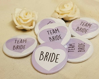 Quirky Heart Hen Do / Wedding / Team Bride Badge (A Set) - LIGHT PURPLE