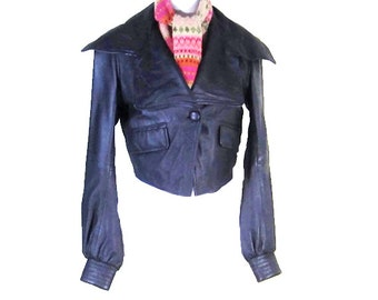 WOMENS LEATHER JACKET, Cropped leather jacket, bikers jacket, vintage leather, womens clothes, lined lather jacket, black leather jacket