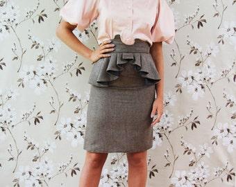 Women knee length peplum skirt, brown skirt, office wear, busienss clothes, pencil skirt, tweed skirt