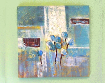 Large abstract modernist print on canvas Blue Flowers modern room decor unknown artist artwork from 1990s (X)