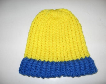 Bright Yellow & Blue Warm Knit Baby Hat