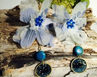 Resin earrings, Blue earrings, Fabric earrings, Flower earrings