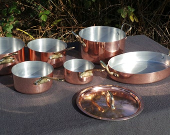 Oven Set Copper Clad Kitchen Set 4 Pans 1 Casserole and Lid 1 Gratin Quality Copper and Aluminium Pans Everyday Complete Set