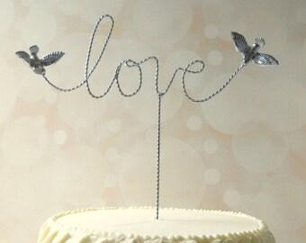 Silver Cake Topper, Wire Cake Topper,  Love Wedding Cake Topper with Love Birds Love Wire Topper