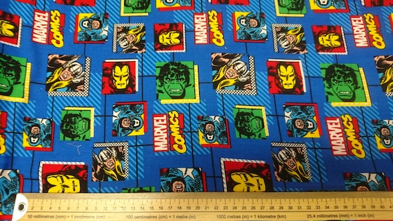 Comics Block Marvel Characters Fabric From