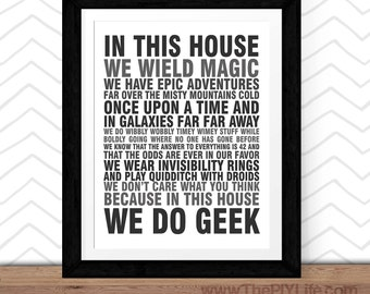 Home Decor   In This House We Do Geek Wall Art, Inspirational Art, Office