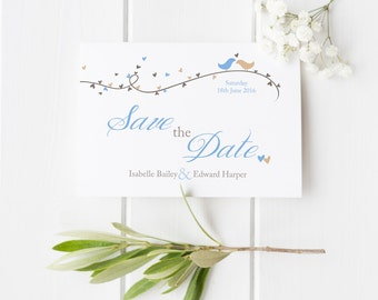 Dorethy // Love Birds and Hearts // Save the Date // Duckegg Blue and Beige // DIY Printable File // Digital PDF File