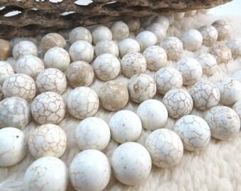 White Magnesite Beads, 14mm White Beads, 8 inch Strand, 14mm Magnesite Beads, Jewelry Making Supplies, Item 1047 gsm