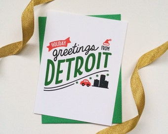 Holiday Greetings from Detroit, letterpress Christmas card (individual)