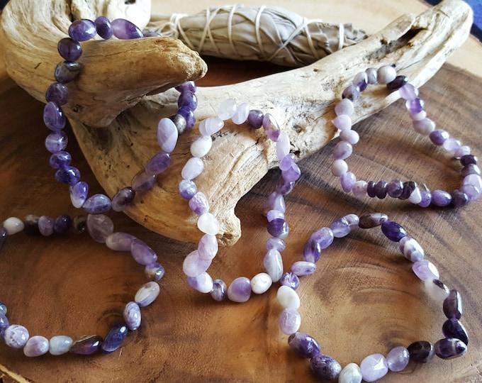 Tumbled Amethyst Stretchy Bracelet ~ 1  Reiki infused gemstone bracelet approx 8 inches