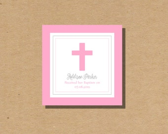Personalized Baptism or First Communion Pink Cross Printable Gift Tag Digital File