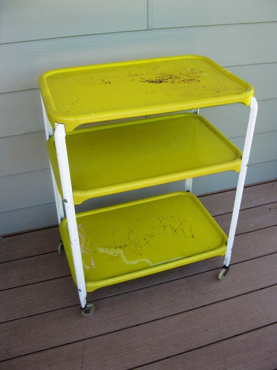 Vintage Metal Rolling Cart Shabby 3 Tier 3 Shelf Yellow