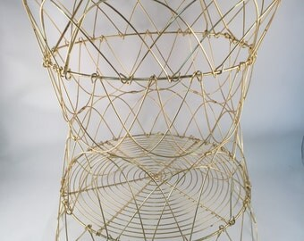 Large Gold Tone Collapsible Wire Basket with Handle, Multiple Shapes, Flattens for Storage