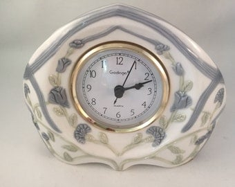 Goodinger Handcrafted Clock, Porcelain Unique Design with Floral Pattern Throughout, In Working Order