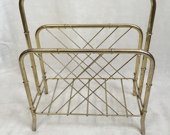Gold Tone Metal Magazine Rack 1970's For - Magazines, Newspapers