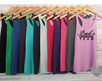 Bachlorette Party Tank Top. Bride's Drinking Team Tank Tops. Bride Tank. Bridesmaids Tank. Bachlorette Tanks. Bridal Party Tanks.