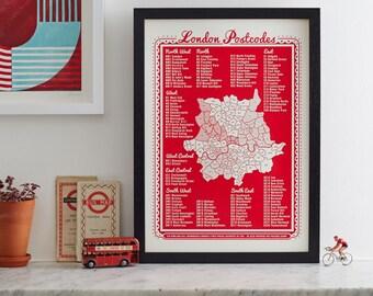London Postcodes. LONDON.Screen print by James Brown