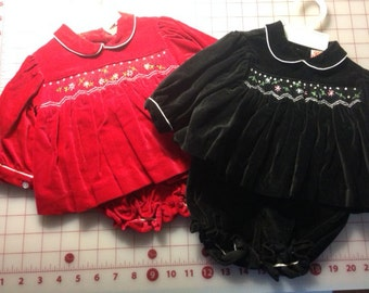 Pair of sweet vintage/classic baby ensembles in cotton velveteen