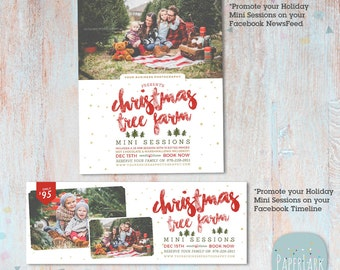 Christmas Mini Session Template - Christmas Tree Farm - Photography Marketing - Photoshop template - IC033 - INSTANT DOWNLOAD