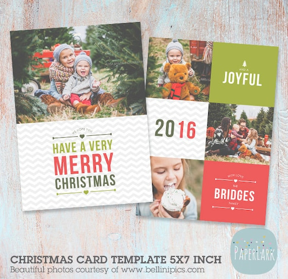 Christmas card template photoshop template by paperlarkdesigns for Christmas card templates for photoshop