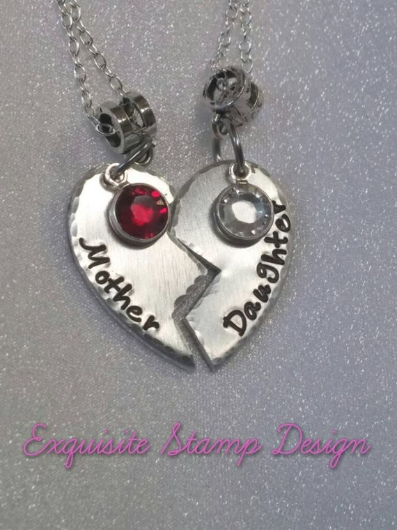 Mother Daughter Necklaces - Mother Daughter Jewelry -  Mom Gift - Mother Daughter Necklace Set - Broken Heart Necklaces - Birthstone Jewelry