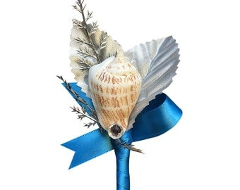 Boutonniere - Pick Color-Seashell boutonniere-perfect beach wedding prom flower