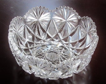 c.1905 Libbey Bowl Cut Glass Signed SPECTACULAR