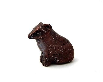 Starry Brown Bear, Simple Little Coppery Brown Bear Figurine, Hand Sculpted Miniature, Polymer Clay, Pocket Bear Totem