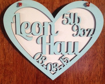 Personalised Wooden Heart Plaque laser cut/engraved.
